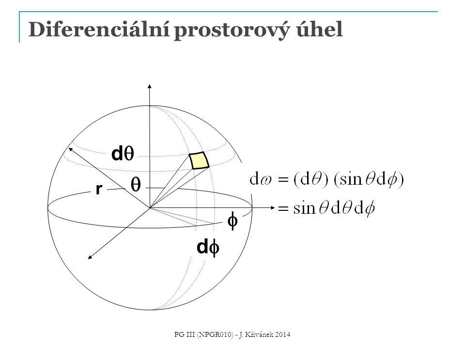 Výpočet ostatních veličin z radiance = promítnutý prostorový úhel (projected solid angle) = hemisféra nad bodem x PG III (NPGR010) - J.