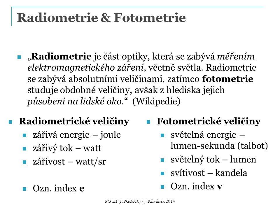 Vztah mezi foto- a radiometrickými veličinami Spektrální světelná účinnost K( ) Zdroj: M.
