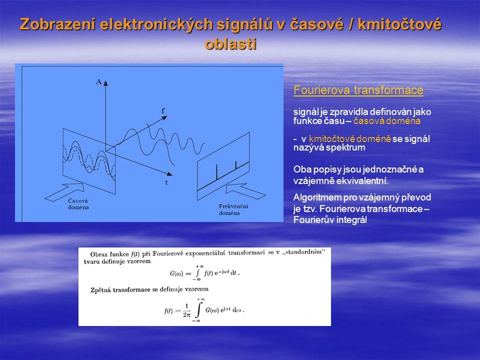 Zobrazení elektronických signálů v časové / kmitočtové oblasti Fourierova transformace signál je zpravidla definován jako funkce času – časová doména