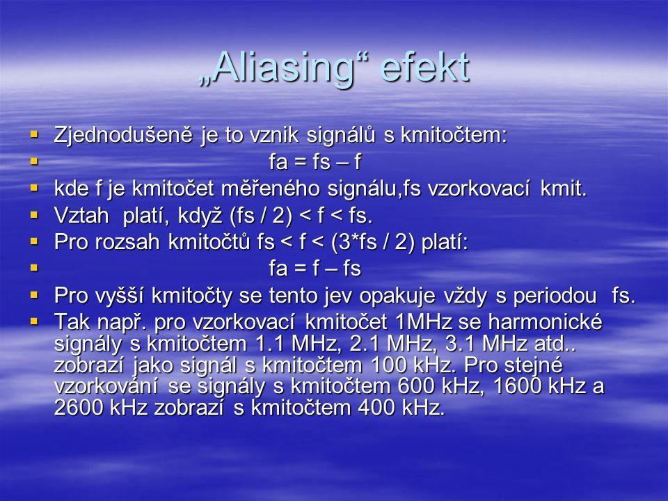 """""""Aliasing"""" efekt  Zjednodušeně je to vznik signálů s kmitočtem:  fa = fs – f  kde f je kmitočet měřeného signálu,fs vzorkovací kmit.  Vztah platí,"""