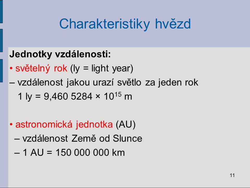 Charakteristiky hvězd 11 Jednotky vzdálenosti: světelný rok (ly = light year) – vzdálenost jakou urazí světlo za jeden rok 1 ly = 9,460 5284 × 10 15 m
