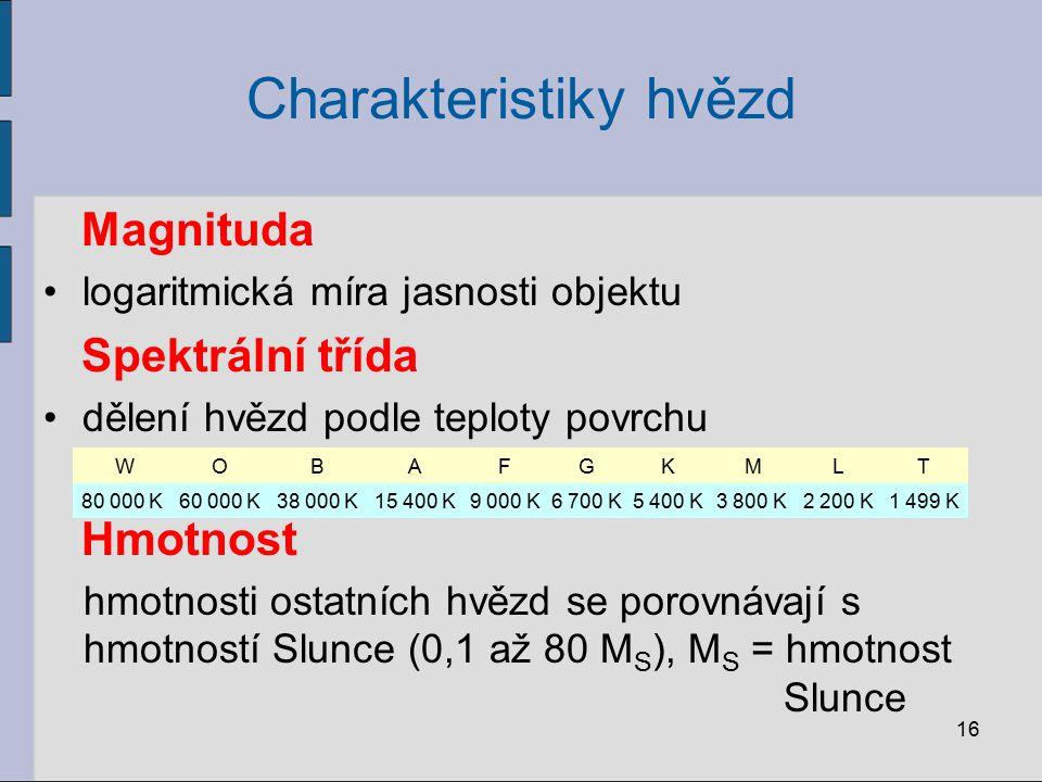 Charakteristiky hvězd Magnituda logaritmická míra jasnosti objektu Spektrální třída dělení hvězd podle teploty povrchu Hmotnost hmotnosti ostatních hv