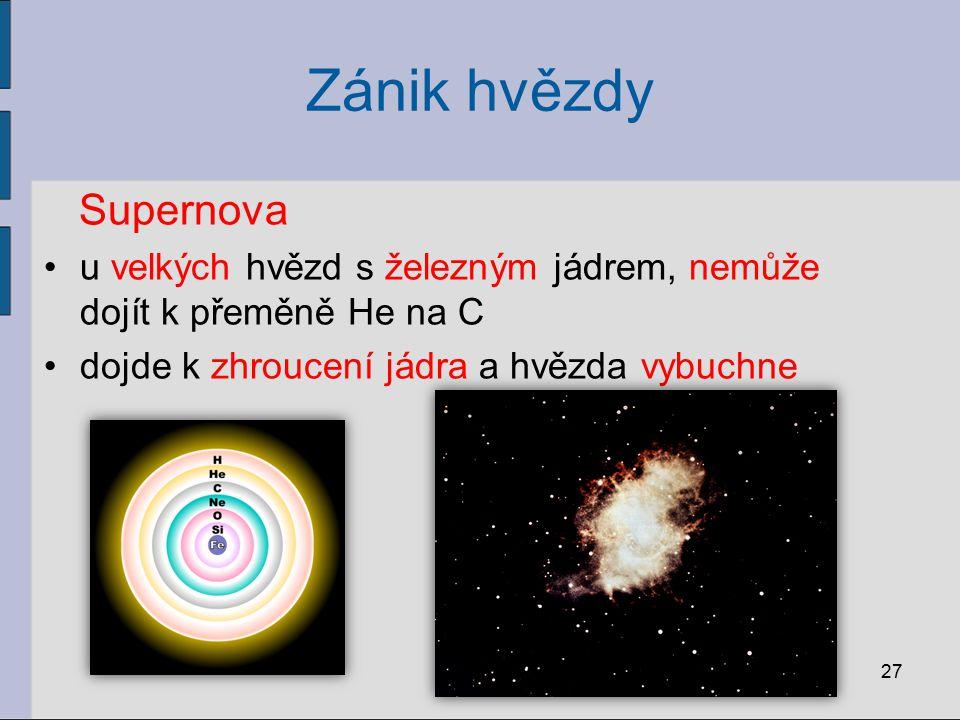 27 Supernova u velkých hvězd s železným jádrem, nemůže dojít k přeměně He na C dojde k zhroucení jádra a hvězda vybuchne Zánik hvězdy