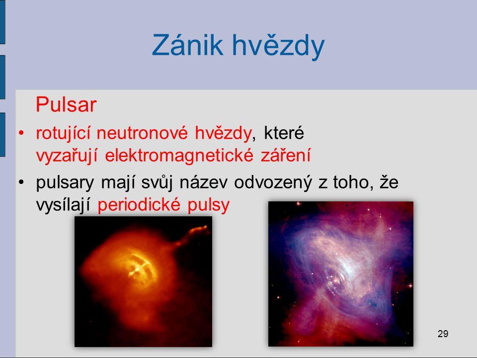 Zánik hvězdy Pulsar rotující neutronové hvězdy, které vyzařují elektromagnetické záření pulsary mají svůj název odvozený z toho, že vysílají periodick