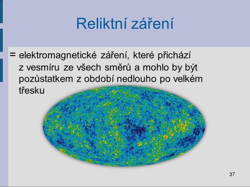 Reliktní záření = elektromagnetické záření, které přichází z vesmíru ze všech směrů a mohlo by být pozůstatkem z období nedlouho po velkém třesku 37