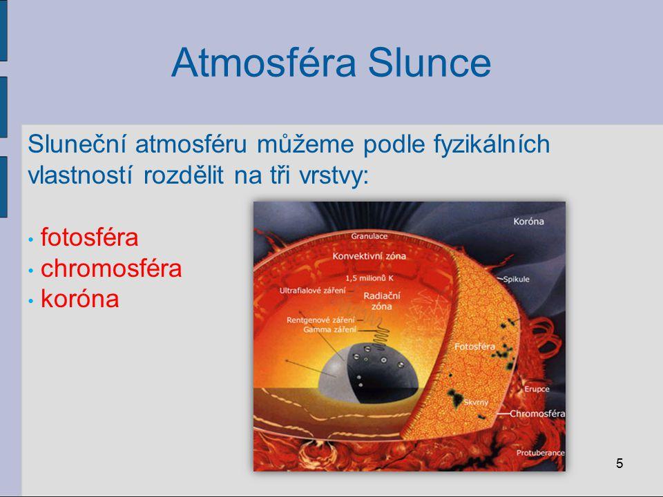 Atmosféra Slunce Sluneční atmosféru můžeme podle fyzikálních vlastností rozdělit na tři vrstvy: fotosféra chromosféra koróna 5