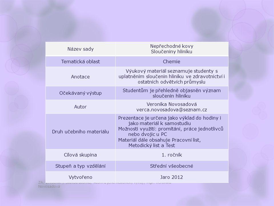 Sloučeniny hliníku ZA, 1.ročník / Nepřechodné kovy, Sloučeniny hliníku / Mgr.