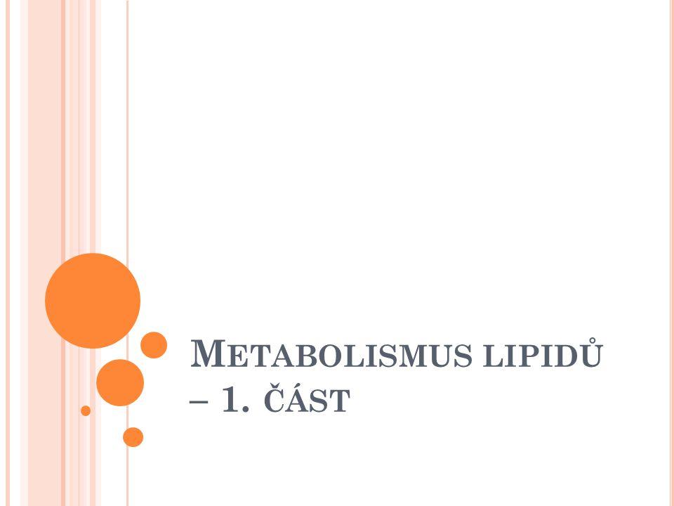 L IPIDY - OPAKOVÁNÍ Charakteristika lipidů Chemické složení Rozdělení Funkce Pojmy: mastné kyseliny (nasycené, nenasycené) esenciální MK Triacylglyceroly, Fosfolipidy, lipoproteiny, glykolipidy