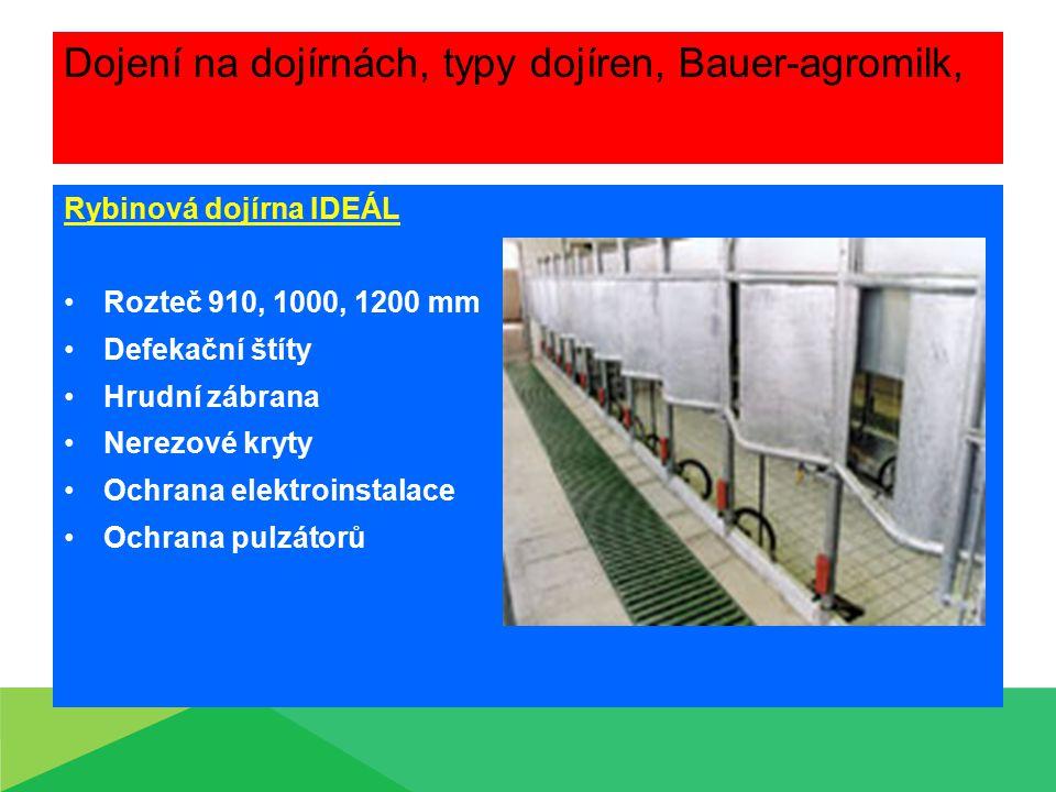 Dojení na dojírnách, typy dojíren, Bauer-agromilk, Rybinová dojírna IDEÁL Rozteč 910, 1000, 1200 mm Defekační štíty Hrudní zábrana Nerezové kryty Ochr