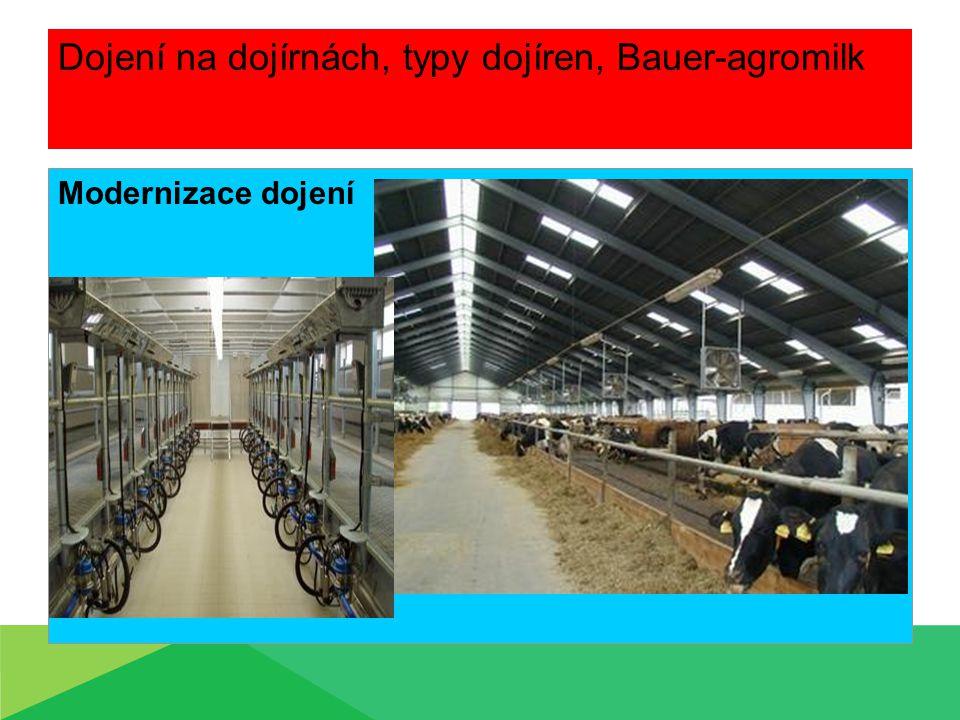 Dojení na dojírnách, typy dojíren, Bauer-agromilk Modernizace dojení