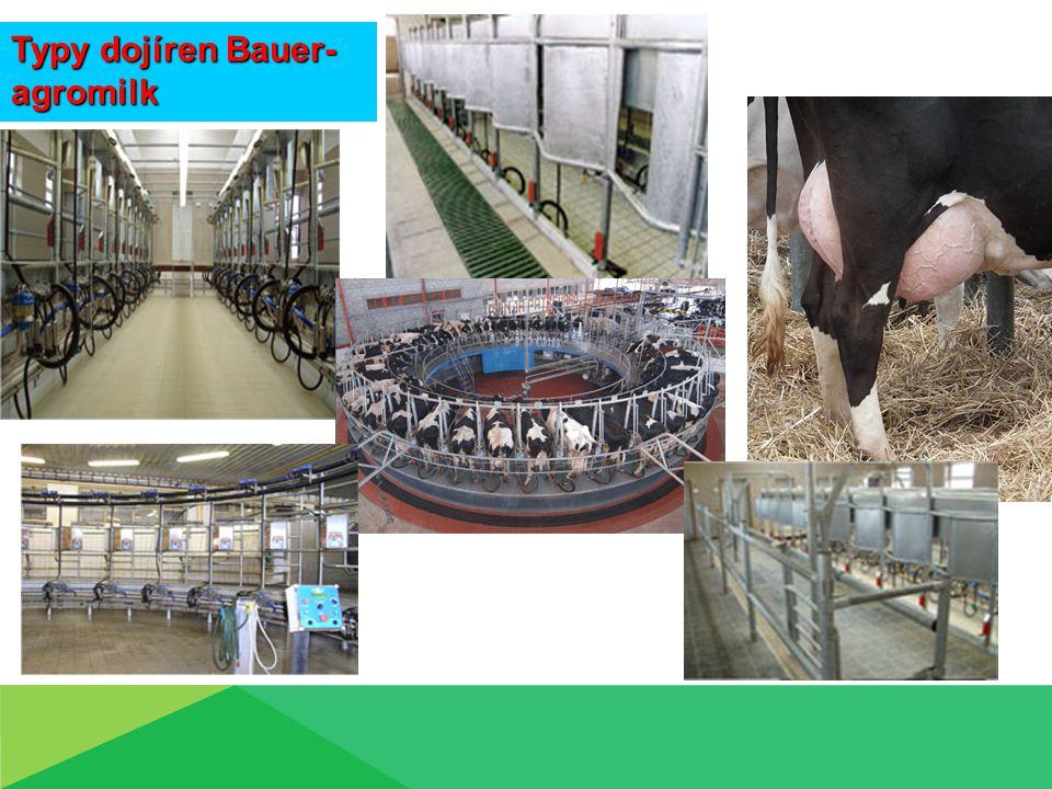 Dojení na dojírnách, typy dojíren, Bauer-agromilk  Kruhové dojírny Vhodné pro velká stáda Dobré pracovní podmínky pro dojiče Přehled o dojnicích Stání – rybinové, paralelní, tandemové
