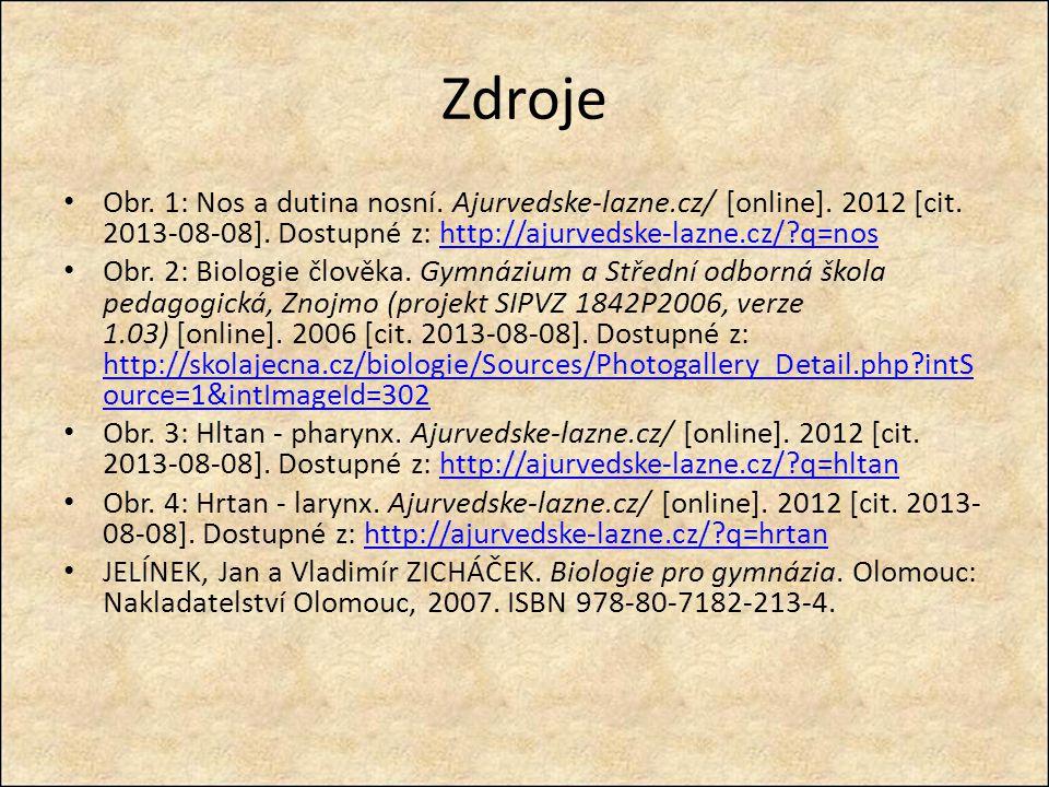 Zdroje Obr. 1: Nos a dutina nosní. Ajurvedske-lazne.cz/ [online]. 2012 [cit. 2013-08-08]. Dostupné z: http://ajurvedske-lazne.cz/?q=noshttp://ajurveds