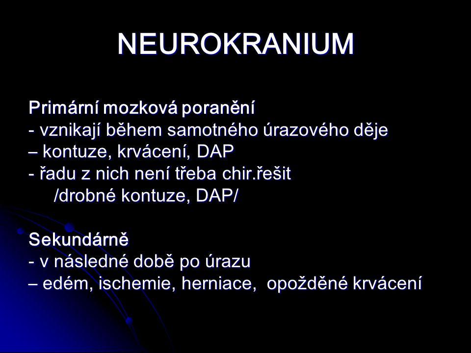 NEUROKRANIUM Primární mozková poranění - vznikají během samotného úrazového děje – kontuze, krvácení, DAP - řadu z nich není třeba chir.řešit /drobné kontuze, DAP/ /drobné kontuze, DAP/ Sekundárně - v následné době po úrazu – edém, ischemie, herniace, opožděné krvácení