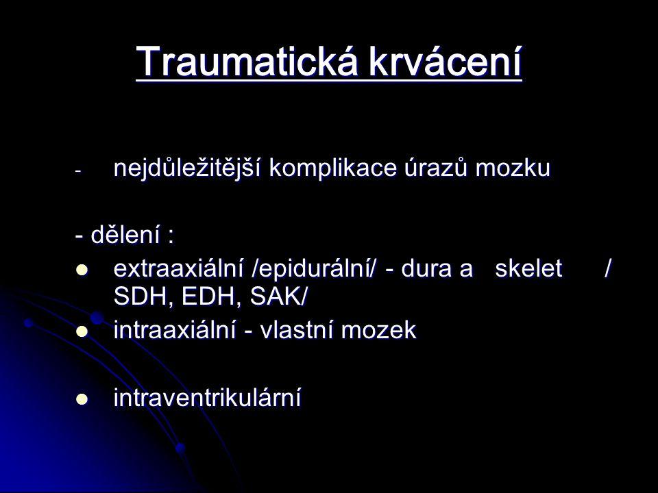 Traumatická krvácení - nejdůležitější komplikace úrazů mozku - dělení : extraaxiální /epidurální/ - dura a skelet / SDH, EDH, SAK/ extraaxiální /epidurální/ - dura a skelet / SDH, EDH, SAK/ intraaxiální - vlastní mozek intraaxiální - vlastní mozek intraventrikulární intraventrikulární