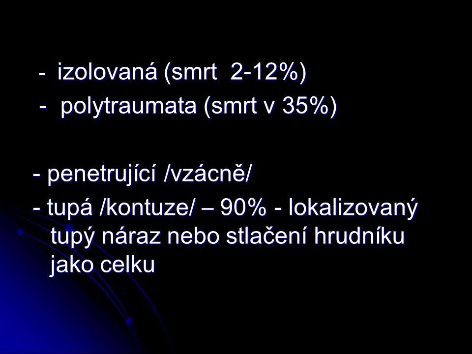 - izolovaná (smrt 2-12%) - izolovaná (smrt 2-12%) - polytraumata (smrt v 35%) - polytraumata (smrt v 35%) - penetrující /vzácně/ - tupá /kontuze/ – 90% - lokalizovaný tupý náraz nebo stlačení hrudníku jako celku