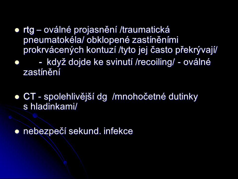 rtg – oválné projasnění /traumatická pneumatokéla/ obklopené zastíněními prokrvácených kontuzí /tyto jej často překrývají/ rtg – oválné projasnění /traumatická pneumatokéla/ obklopené zastíněními prokrvácených kontuzí /tyto jej často překrývají/ - když dojde ke svinutí /recoiling/ - oválné zastínění - když dojde ke svinutí /recoiling/ - oválné zastínění CT - spolehlivější dg /mnohočetné dutinky s hladinkami/ CT - spolehlivější dg /mnohočetné dutinky s hladinkami/ nebezpečí sekund.