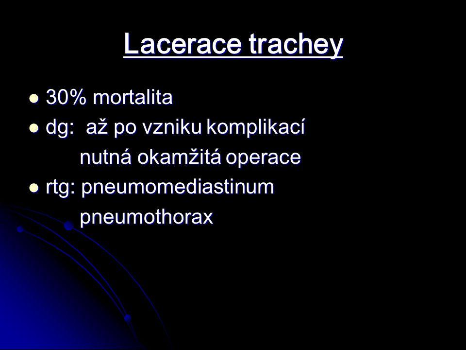 Lacerace trachey 30% mortalita 30% mortalita dg: až po vzniku komplikací dg: až po vzniku komplikací nutná okamžitá operace nutná okamžitá operace rtg: pneumomediastinum rtg: pneumomediastinum pneumothorax pneumothorax
