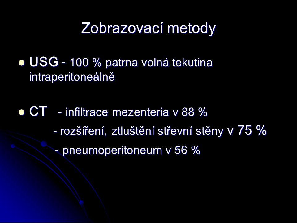 Zobrazovací metody USG - 100 % patrna volná tekutina intraperitoneálně USG - 100 % patrna volná tekutina intraperitoneálně CT - infiltrace mezenteria v 88 % CT - infiltrace mezenteria v 88 % - rozšíření, ztluštění střevní stěny v 75 % - rozšíření, ztluštění střevní stěny v 75 % - pneumoperitoneum v 56 % - pneumoperitoneum v 56 %