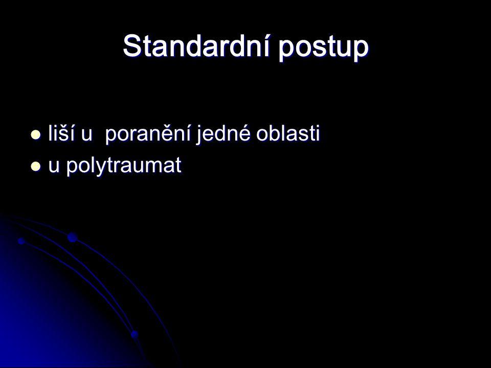 Standardní postup liší u poranění jedné oblasti liší u poranění jedné oblasti u polytraumat u polytraumat
