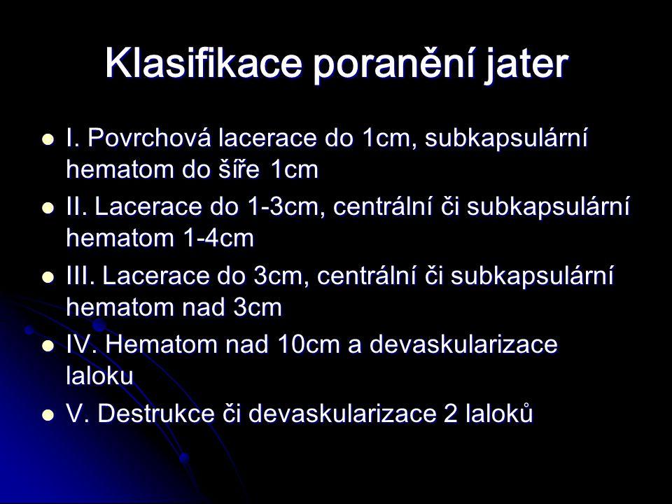 Klasifikace poranění jater I.Povrchová lacerace do 1cm, subkapsulární hematom do šíře 1cm I.