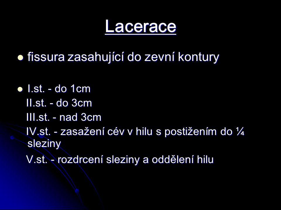 Lacerace fissura zasahující do zevní kontury fissura zasahující do zevní kontury I.st.