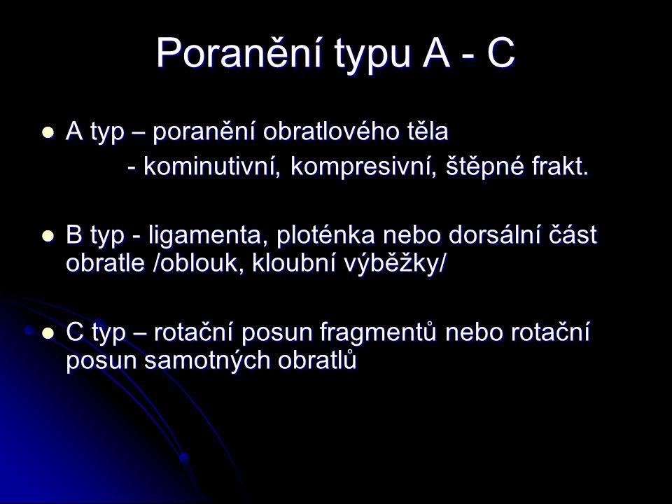 Poranění typu A - C A typ – poranění obratlového těla A typ – poranění obratlového těla - kominutivní, kompresivní, štěpné frakt.