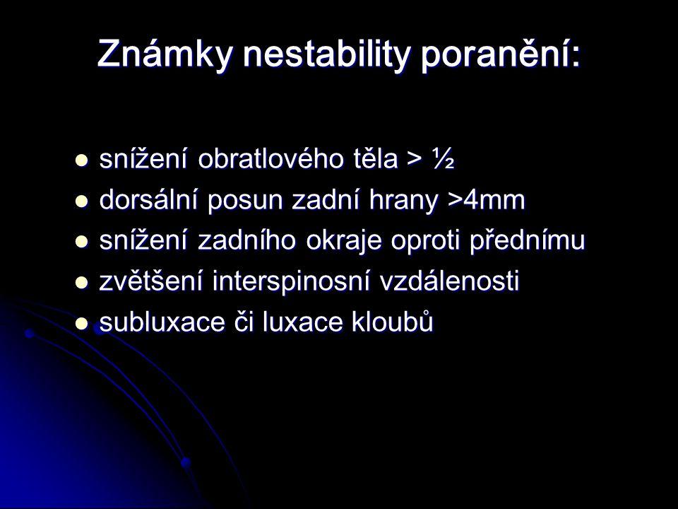 Známky nestability poranění: snížení obratlového těla > ½ snížení obratlového těla > ½ dorsální posun zadní hrany >4mm dorsální posun zadní hrany >4mm snížení zadního okraje oproti přednímu snížení zadního okraje oproti přednímu zvětšení interspinosní vzdálenosti zvětšení interspinosní vzdálenosti subluxace či luxace kloubů subluxace či luxace kloubů