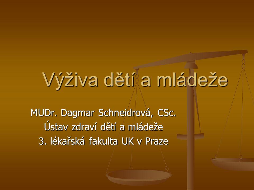 Výživa dětí a mládeže Výživa dětí a mládeže MUDr.Dagmar Schneidrová, CSc.