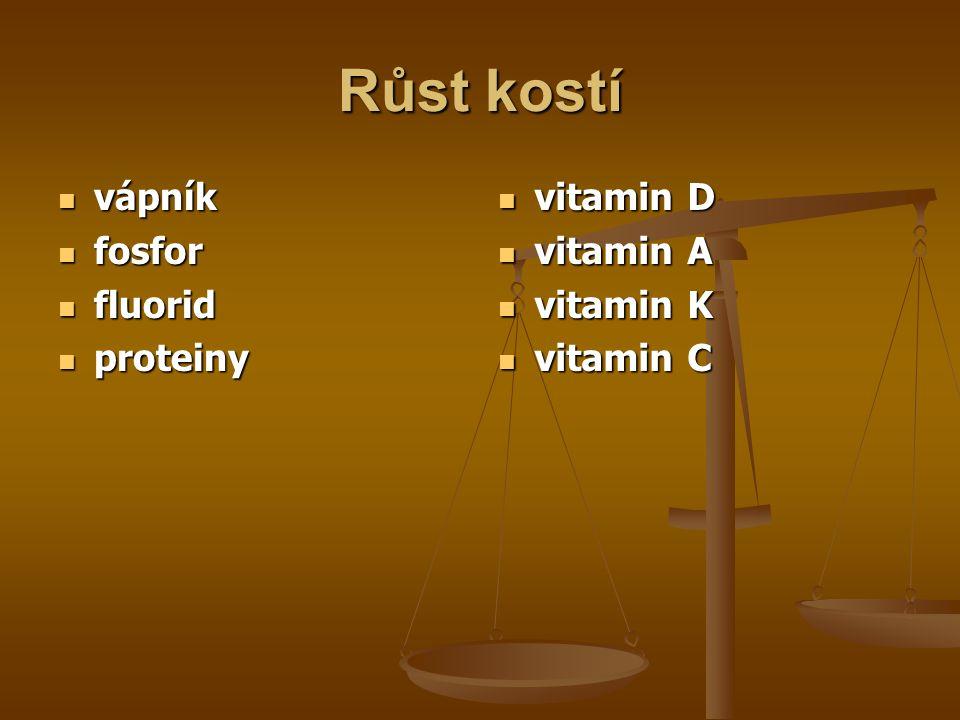 Růst kostí vápník vápník fosfor fosfor fluorid fluorid proteiny proteiny vitamin D vitamin A vitamin K vitamin C