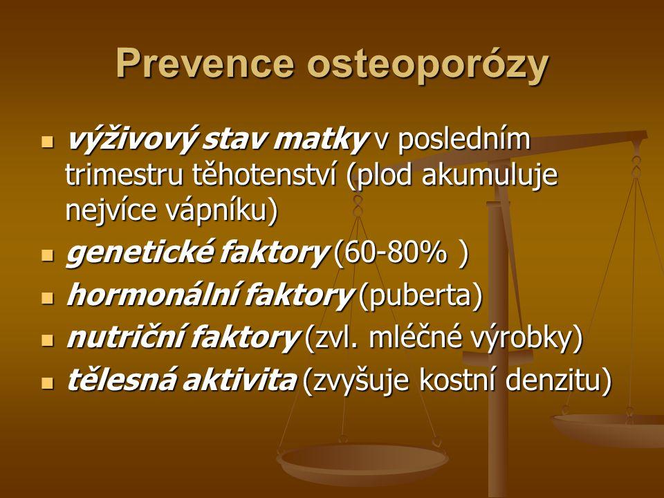 Prevence osteoporózy výživový stav matky v posledním trimestru těhotenství (plod akumuluje nejvíce vápníku) výživový stav matky v posledním trimestru těhotenství (plod akumuluje nejvíce vápníku) genetické faktory (60-80% ) genetické faktory (60-80% ) hormonální faktory (puberta) hormonální faktory (puberta) nutriční faktory (zvl.