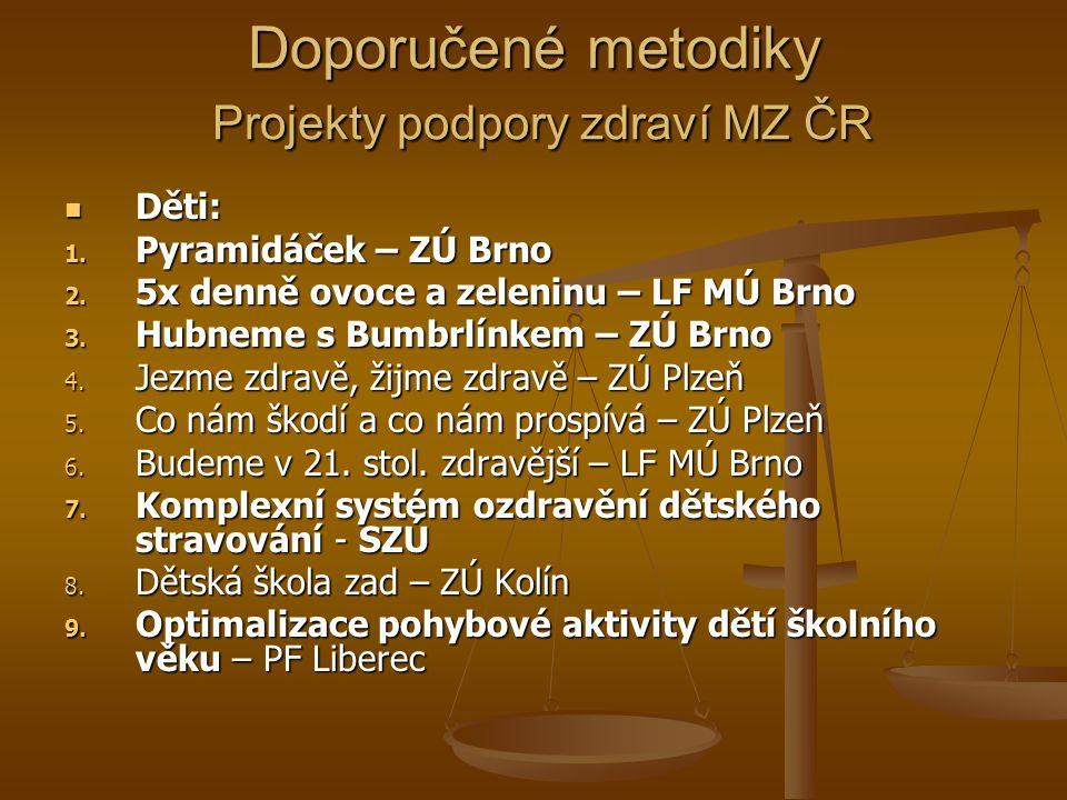 Doporučené metodiky Projekty podpory zdraví MZ ČR Děti: Děti: 1.