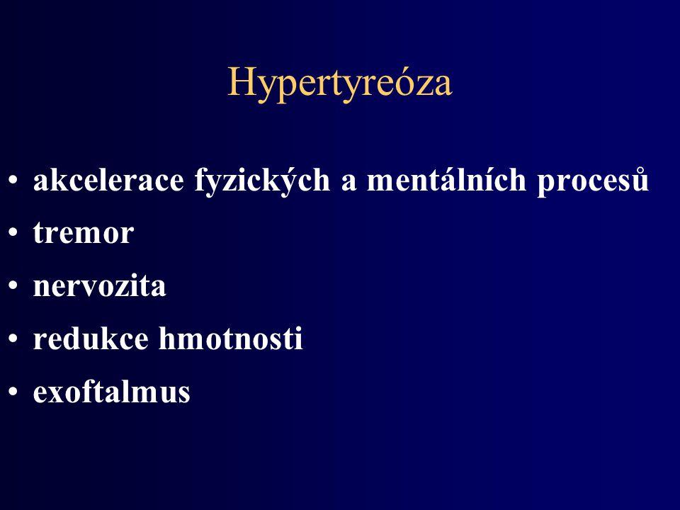 Hypertyreóza akcelerace fyzických a mentálních procesů tremor nervozita redukce hmotnosti exoftalmus