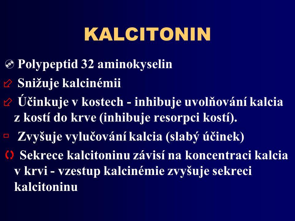 KALCITONIN  Polypeptid 32 aminokyselin ÷ Snižuje kalcinémii ÷ Účinkuje v kostech - inhibuje uvolňování kalcia z kostí do krve (inhibuje resorpci kostí).