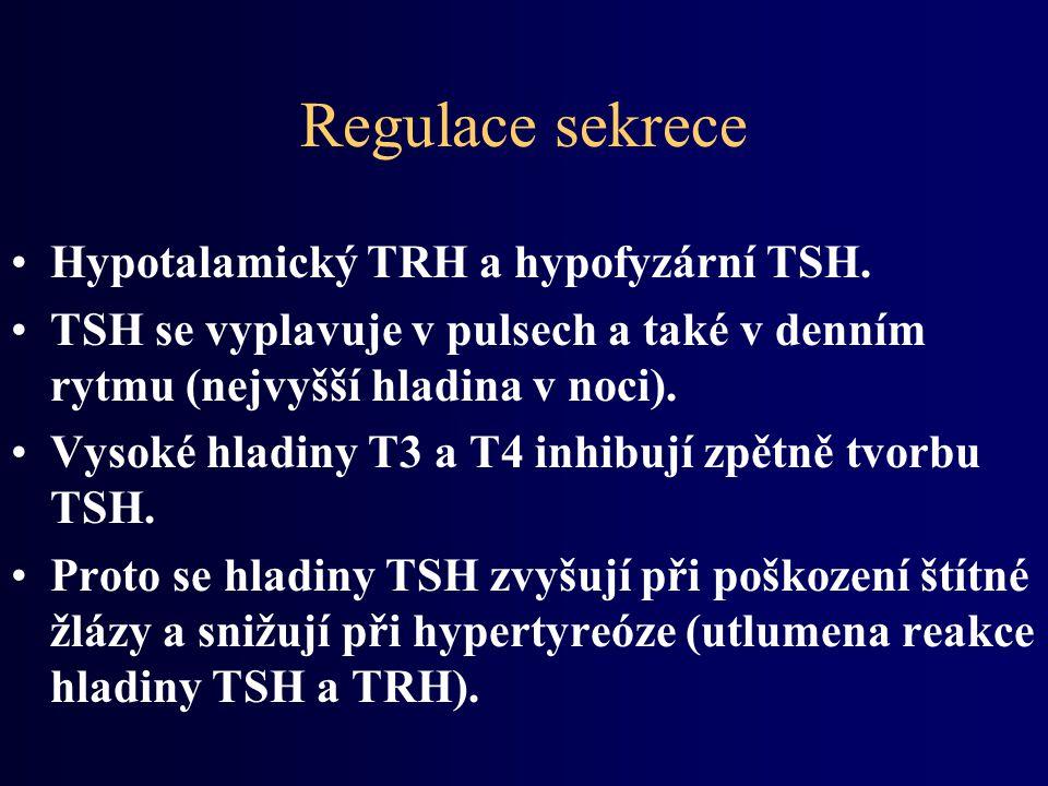 Regulace sekrece Hypotalamický TRH a hypofyzární TSH.