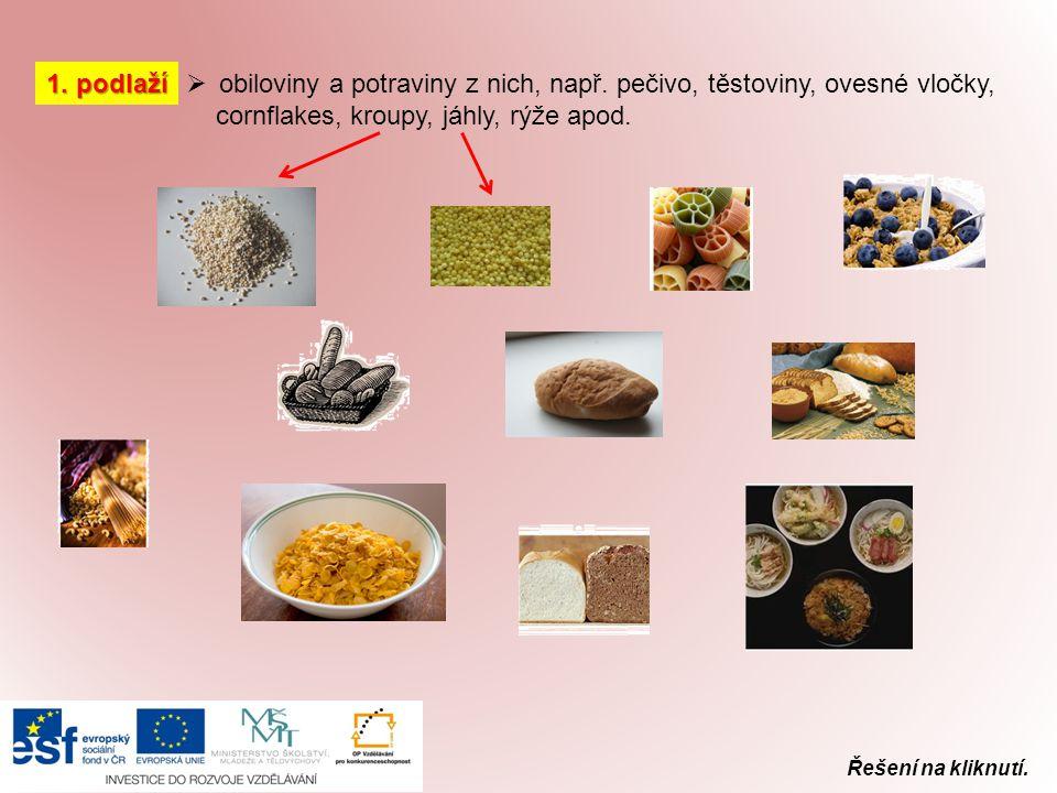 1. podlaží  obiloviny a potraviny z nich, např. pečivo, těstoviny, ovesné vločky, cornflakes, kroupy, jáhly, rýže apod.