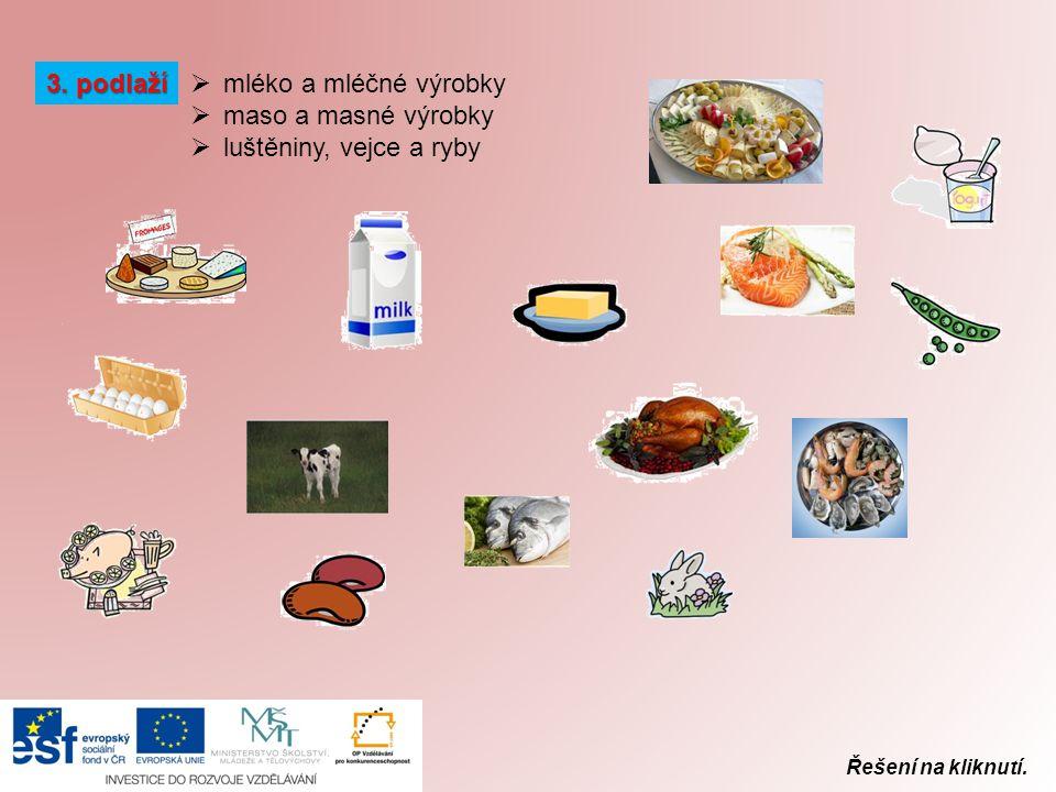 Řešení na kliknutí. 3. podlaží  mléko a mléčné výrobky  maso a masné výrobky  luštěniny, vejce a ryby