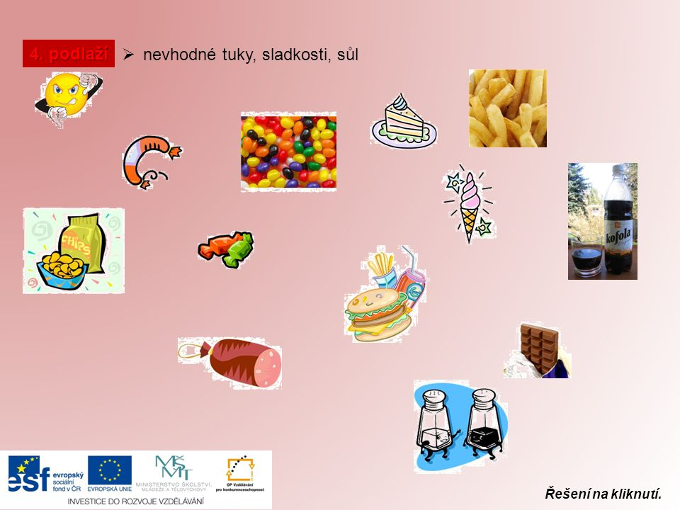 Řešení na kliknutí. 4. podlaží  nevhodné tuky, sladkosti, sůl