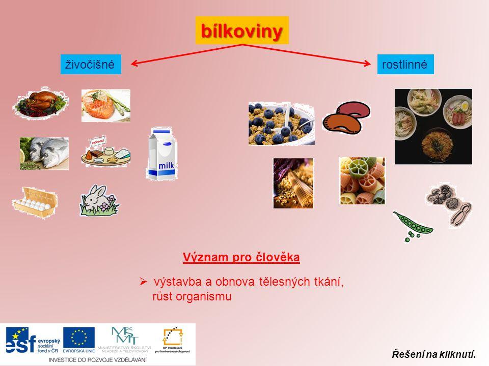 Řešení na kliknutí. bílkoviny živočišné rostlinné Význam pro člověka  výstavba a obnova tělesných tkání, růst organismu