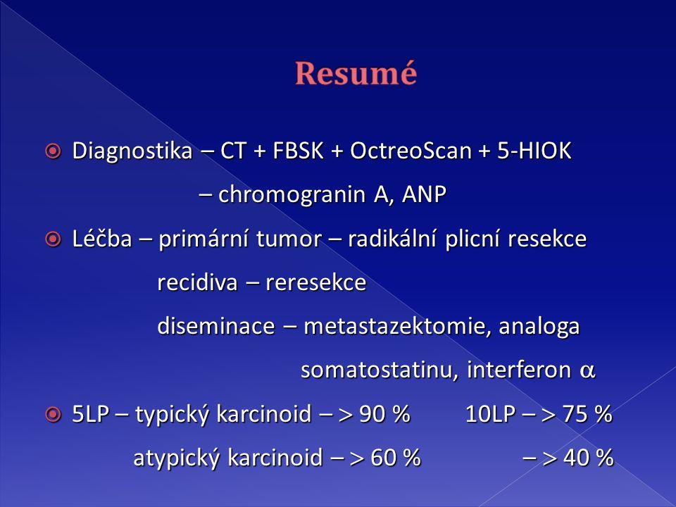  Diagnostika – CT + FBSK + OctreoScan + 5-HIOK – chromogranin A, ANP – chromogranin A, ANP  Léčba – primární tumor – radikální plicní resekce recidiva – reresekce recidiva – reresekce diseminace – metastazektomie, analoga diseminace – metastazektomie, analoga somatostatinu, interferon  somatostatinu, interferon   5LP – typický karcinoid –  90 % 10LP –  75 % atypický karcinoid –  60 % –  40 % atypický karcinoid –  60 % –  40 %