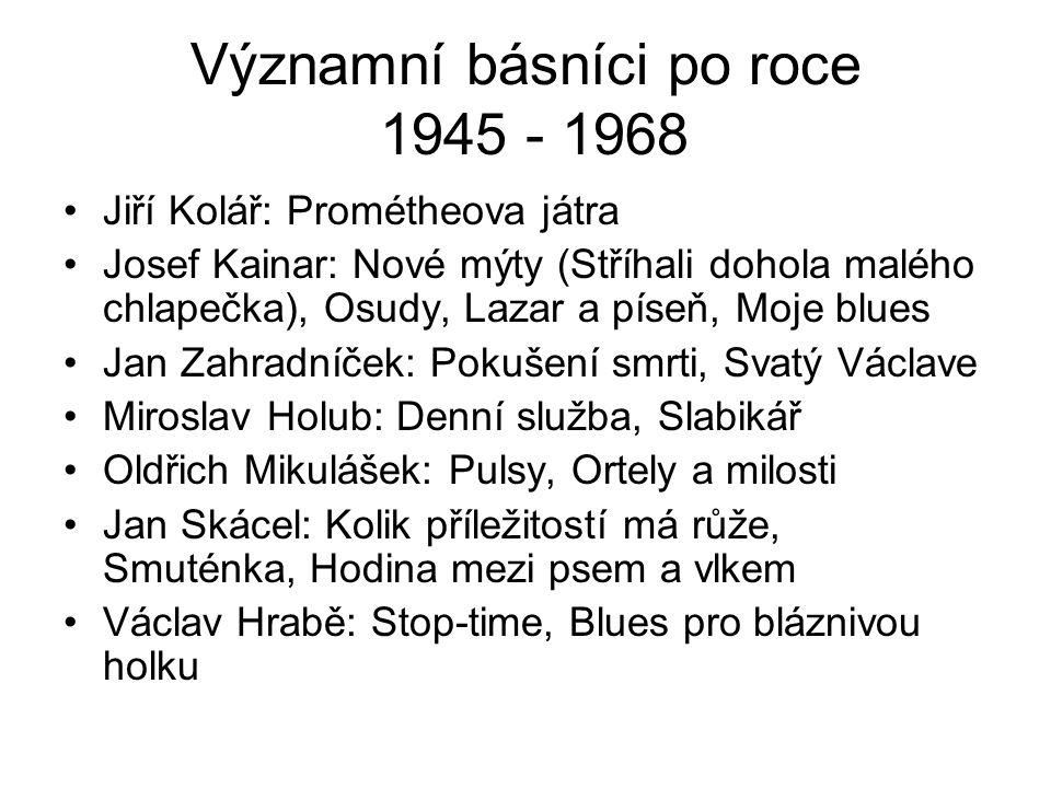 Poezie 70.- 80.let: oficiální J. Seifert O. Mikulášek V.