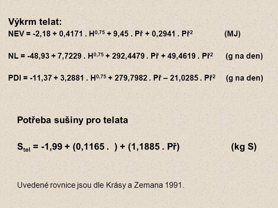 Výkrm telat: NEV = -2,18 + 0,4171. H 0,75 + 9,45. Př + 0,2941. Př 2 (MJ) NL = -48,93 + 7,7229. H 0,75 + 292,4479. Př + 49,4619. Př 2 (g na den) PDI =