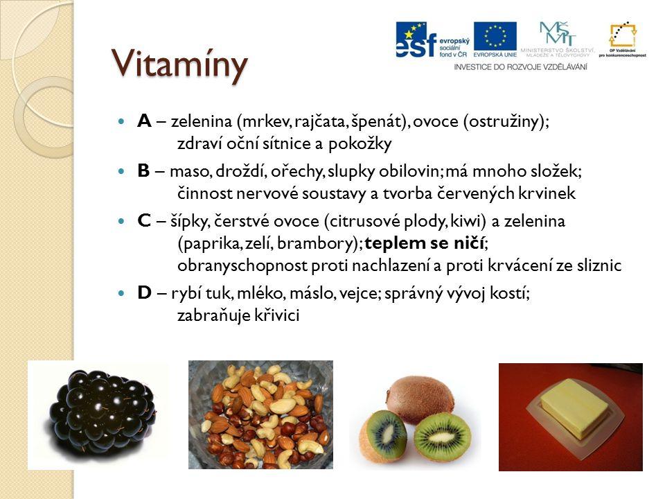 Vitamíny A – zelenina (mrkev, rajčata, špenát), ovoce (ostružiny); zdraví oční sítnice a pokožky B – maso, droždí, ořechy, slupky obilovin; má mnoho s