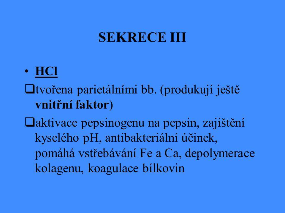 SEKRECE III HCl  tvořena parietálními bb. (produkují ještě vnitřní faktor)  aktivace pepsinogenu na pepsin, zajištění kyselého pH, antibakteriální ú