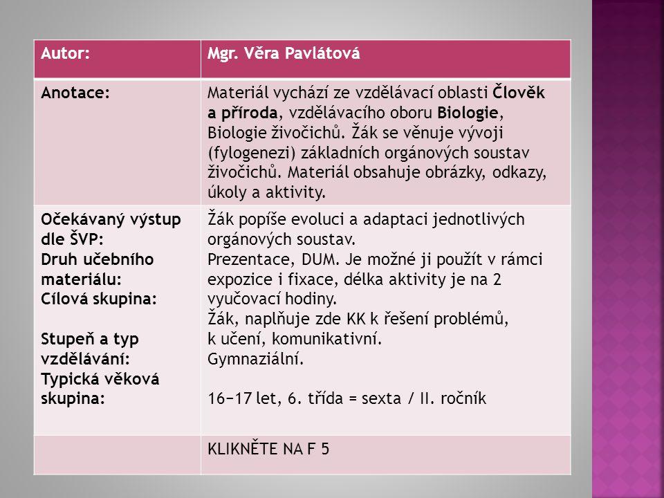 Autorem materiálu a všech jeho částí, není-li uvedeno jinak, je Věra Pavlátová. Dostupné z Metodického portálu www.rvp.cz, ISSN: 1802-4785. Provozuje