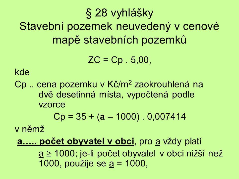 § 28 vyhlášky Stavební pozemek neuvedený v cenové mapě stavebních pozemků ZC = Cp.