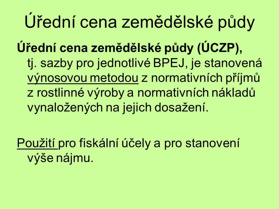 Úřední cena zemědělské půdy Úřední cena zemědělské půdy (ÚCZP), tj.
