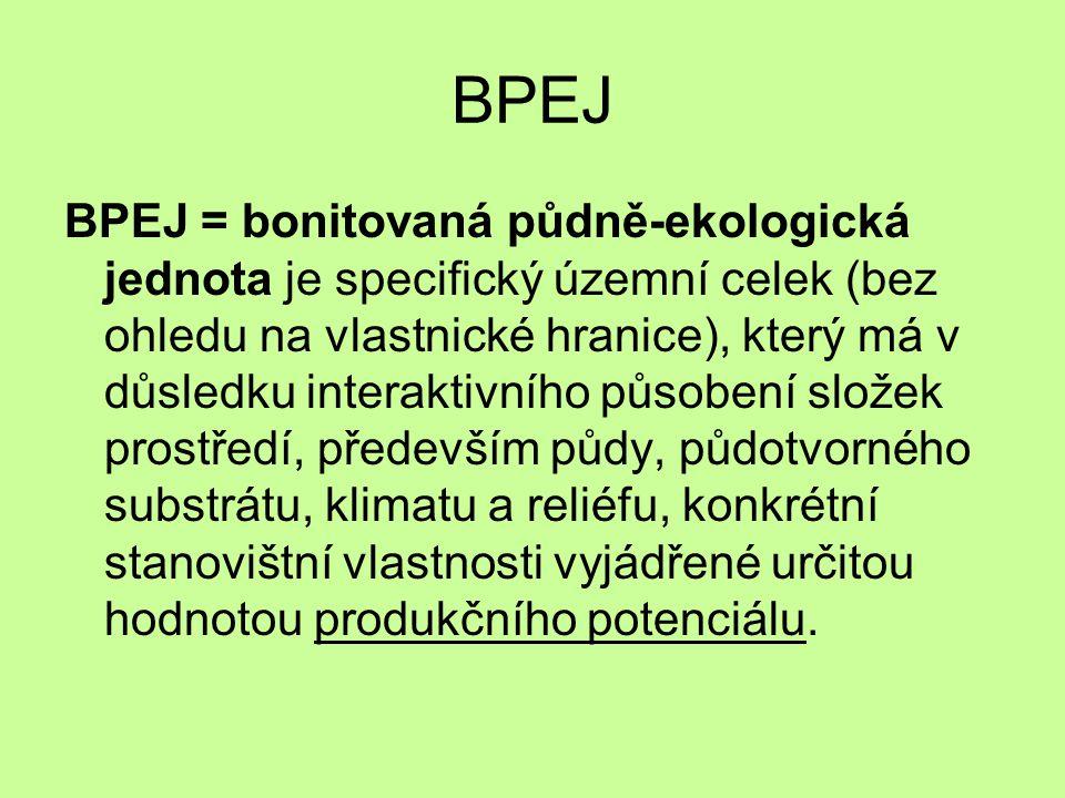 BPEJ BPEJ = bonitovaná půdně-ekologická jednota je specifický územní celek (bez ohledu na vlastnické hranice), který má v důsledku interaktivního působení složek prostředí, především půdy, půdotvorného substrátu, klimatu a reliéfu, konkrétní stanovištní vlastnosti vyjádřené určitou hodnotou produkčního potenciálu.
