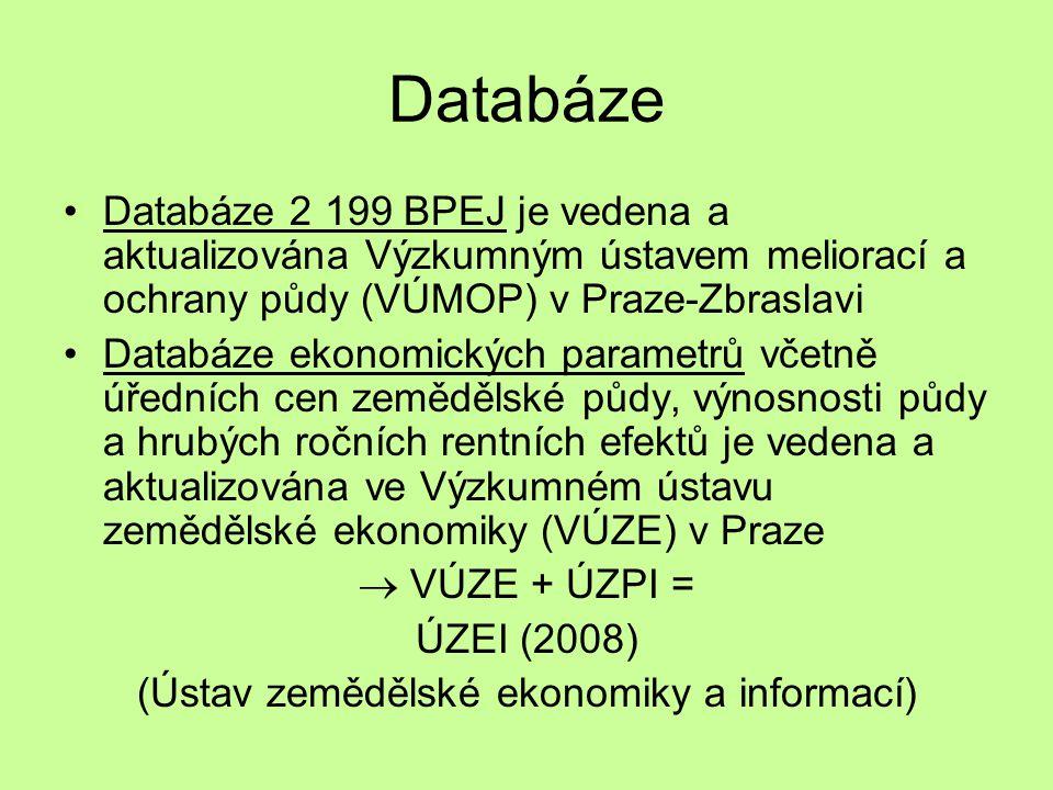 Databáze Databáze 2 199 BPEJ je vedena a aktualizována Výzkumným ústavem meliorací a ochrany půdy (VÚMOP) v Praze-Zbraslavi Databáze ekonomických parametrů včetně úředních cen zemědělské půdy, výnosnosti půdy a hrubých ročních rentních efektů je vedena a aktualizována ve Výzkumném ústavu zemědělské ekonomiky (VÚZE) v Praze  VÚZE + ÚZPI = ÚZEI (2008) (Ústav zemědělské ekonomiky a informací)