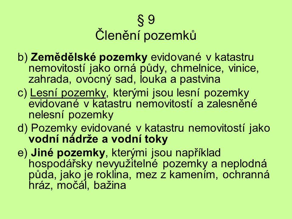 Stanovení výnosnosti půd Výnosnost zemědělských půd v ČR je: Minimální výnosnost - 2 500 Kč/ha, tj.