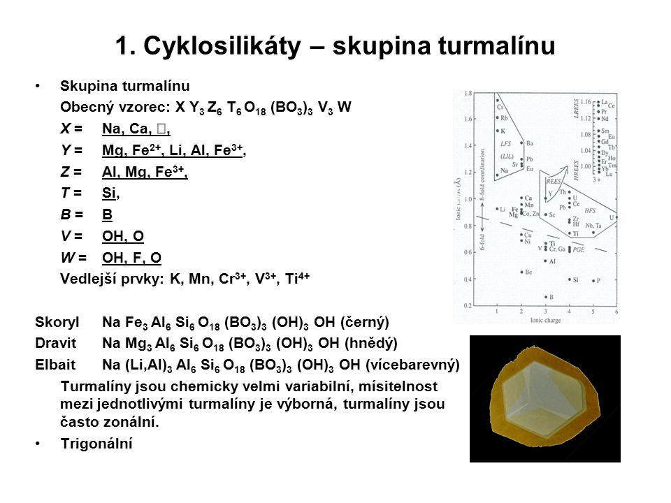 1. Cyklosilikáty – skupina turmalínu Skupina turmalínu Obecný vzorec: X Y 3 Z 6 T 6 O 18 (BO 3 ) 3 V 3 W X = Na, Ca,, Y = Mg, Fe 2+, Li, Al, Fe 3+, Z